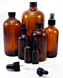 Amber Glass Bottles - 1 oz., 4 oz., 8 oz., 16 oz., & 32 oz. Sizes