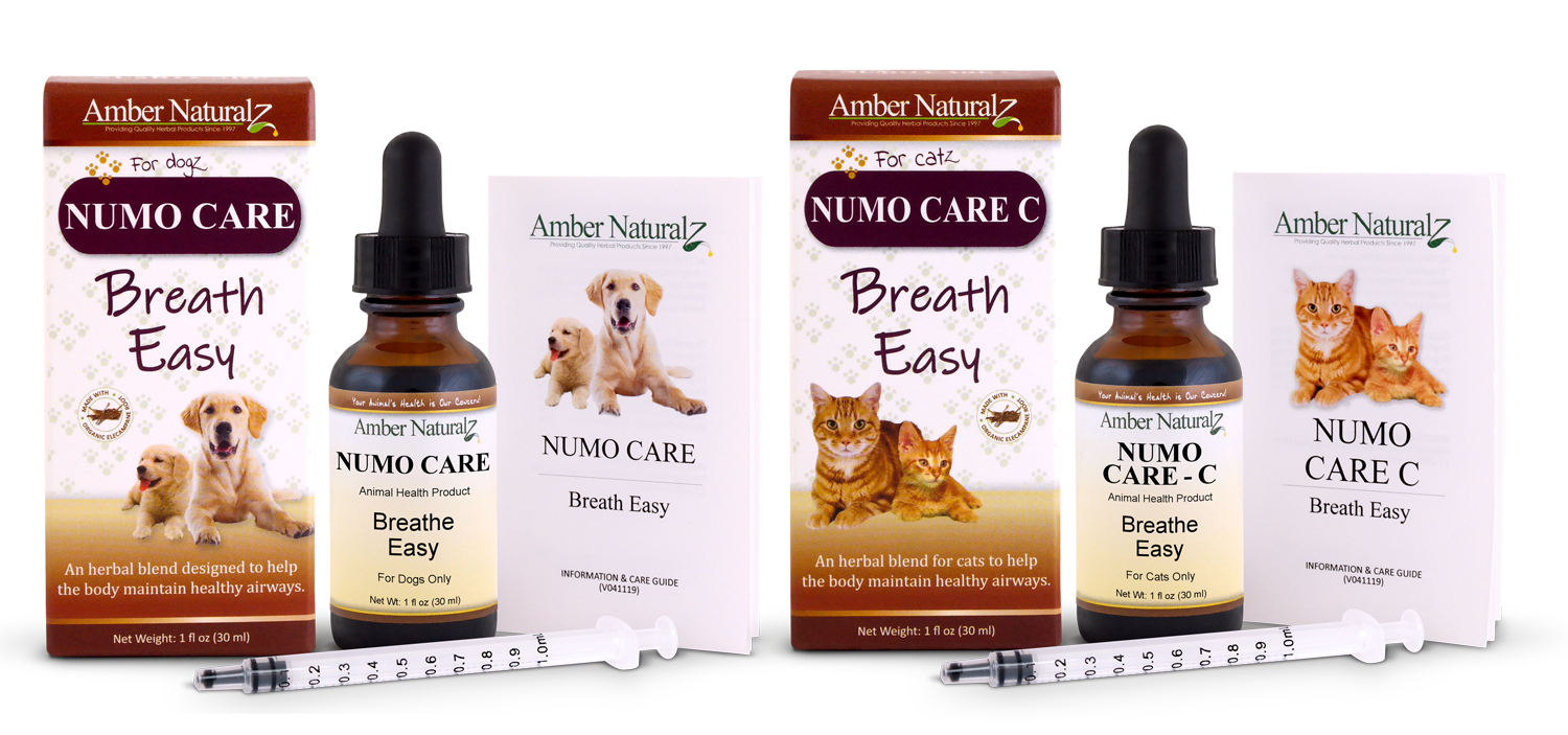 Amber Naturalz Numo Care is an organic herbal remedy that helps pets breathe easy.