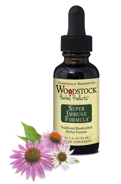 Woodstock Herbal Products Super Immune Formula supports immune system health.